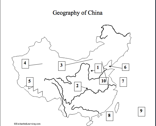 socialstudiesrms6 frontpage China Geographic using pages 249 253 and a23 label the geographical features on the map by numbering 1 10 and then typing the correct geographical feature next to the